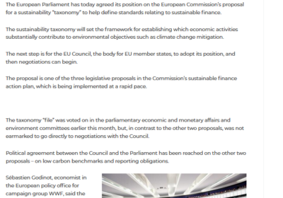 European Parliament agrees stance on sustainability taxonomy – IPE 28/03/2019