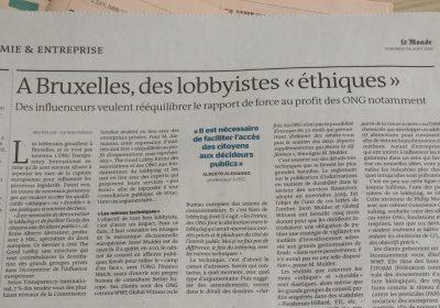 A Bruxelles, l'émergence de lobbyistes « éthiques » – Le Monde 28/08/2020